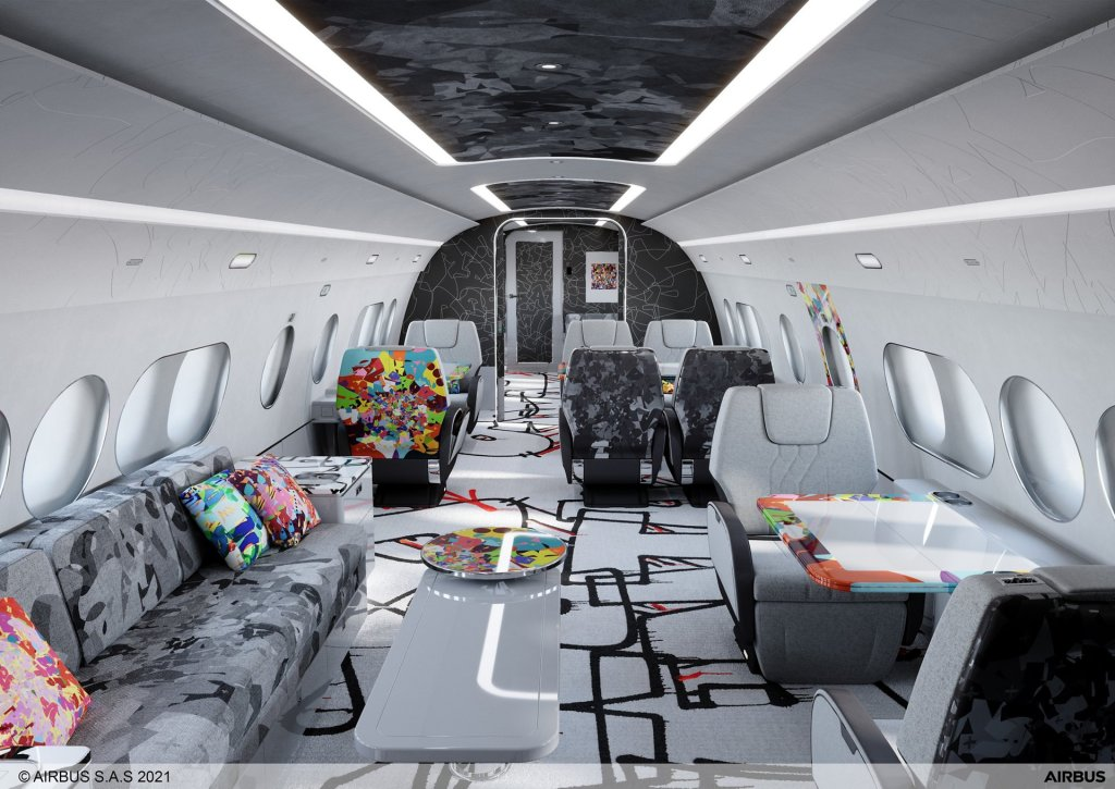 Cómo convertir la cabina de un Airbus ejecutivo en una galería de arte en las alturas
