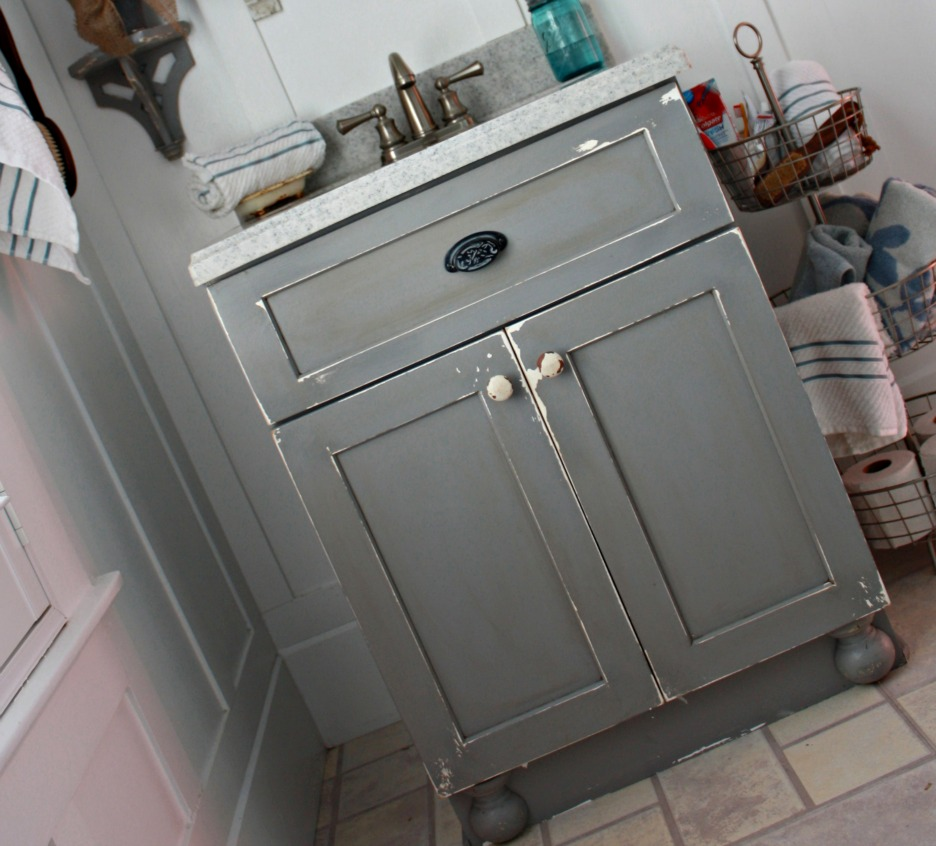 DIY Chippy Painted Bathroom Vanity Robb Restyle