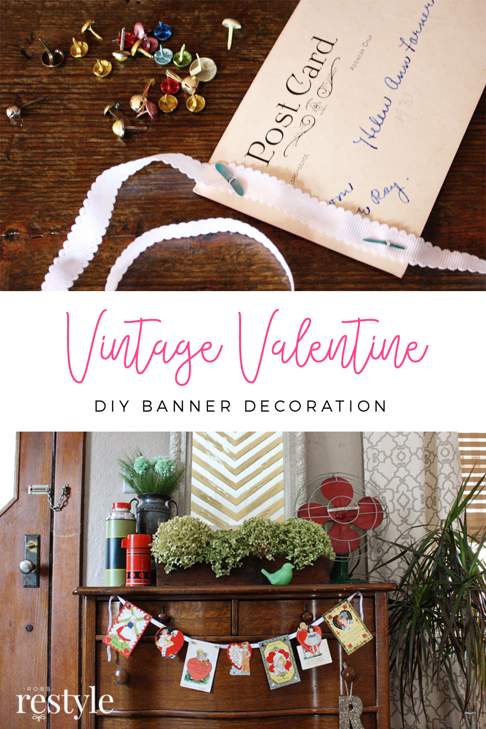 Vintage Valentine DIY Craft Banner Decoration Idea