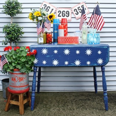 Starry Night Stencil Patriotic Table Makeover