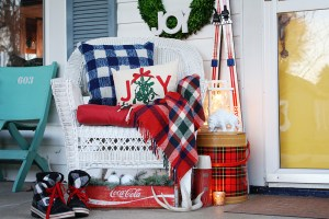 Vintage Christmas Cabin Front Porch