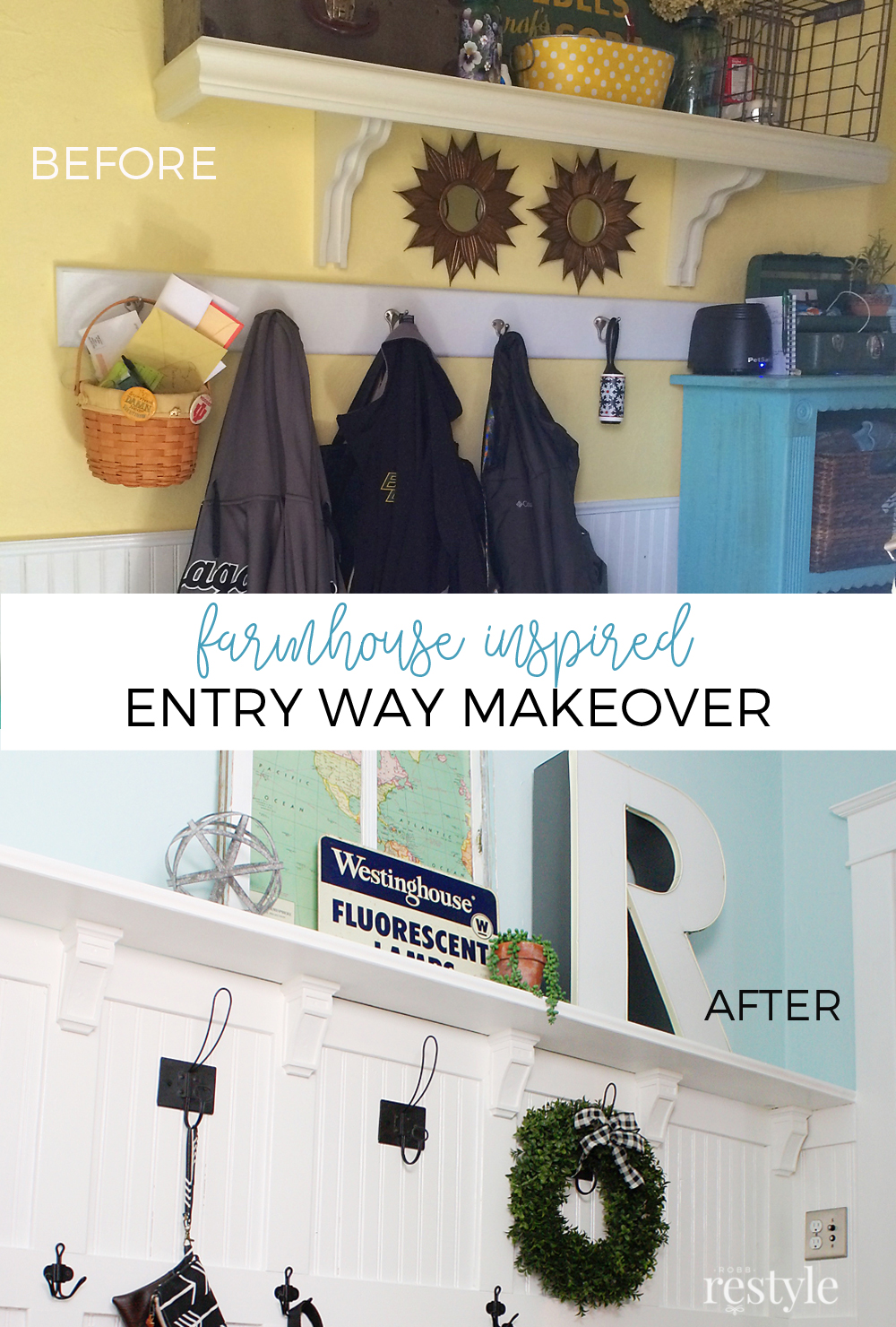 farmhouse inspired entryway makeover before and after