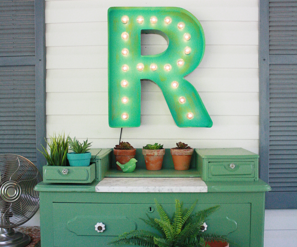 vintage green marquee letter porch decor
