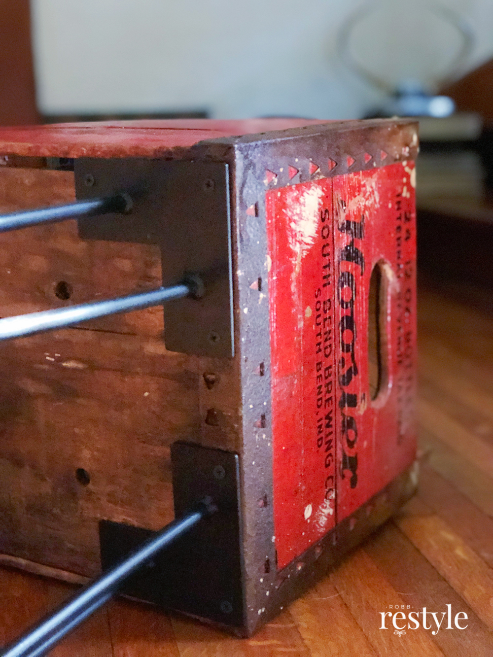 Add hairpin legs to a vintage box to make furniture