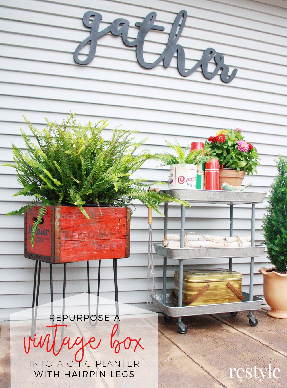 Repurpose a vintage box with affordable hairpin legs from Crates and Pallet