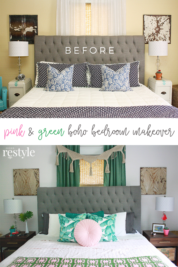 Pink and Green Boho Bedroom Makeover with Valspar Signature Paint
