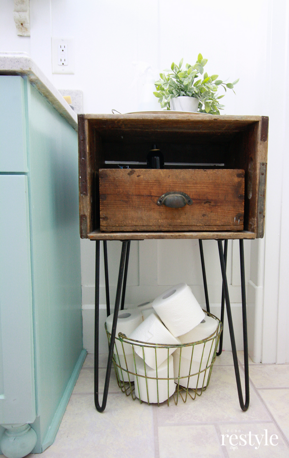 Bathroom Storage with a Vintage Soda Crate & Hairpin Legs