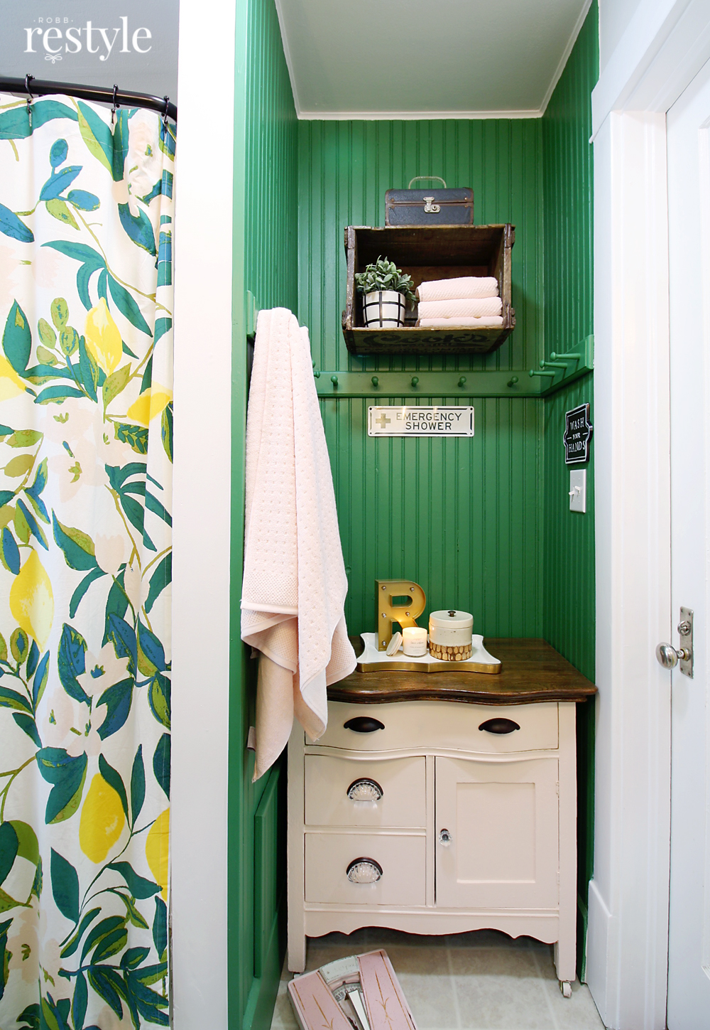 Pink Green Bathroom Makeover