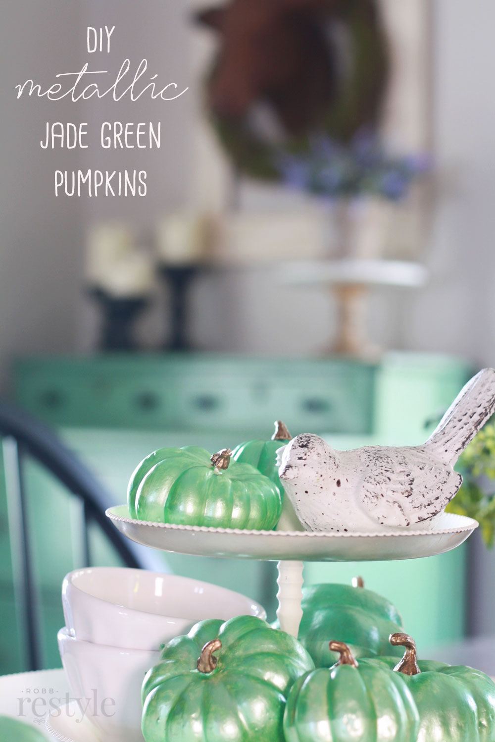 DIY Metallic Jade Green Pumpkins
