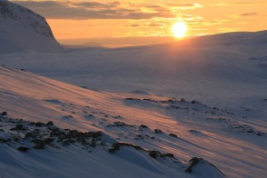 Above the Arctic Circle in spring means that it is nearly always sunrise or sunset. Here, nearing the end of the day in the Tromsø Fastland, Norway.