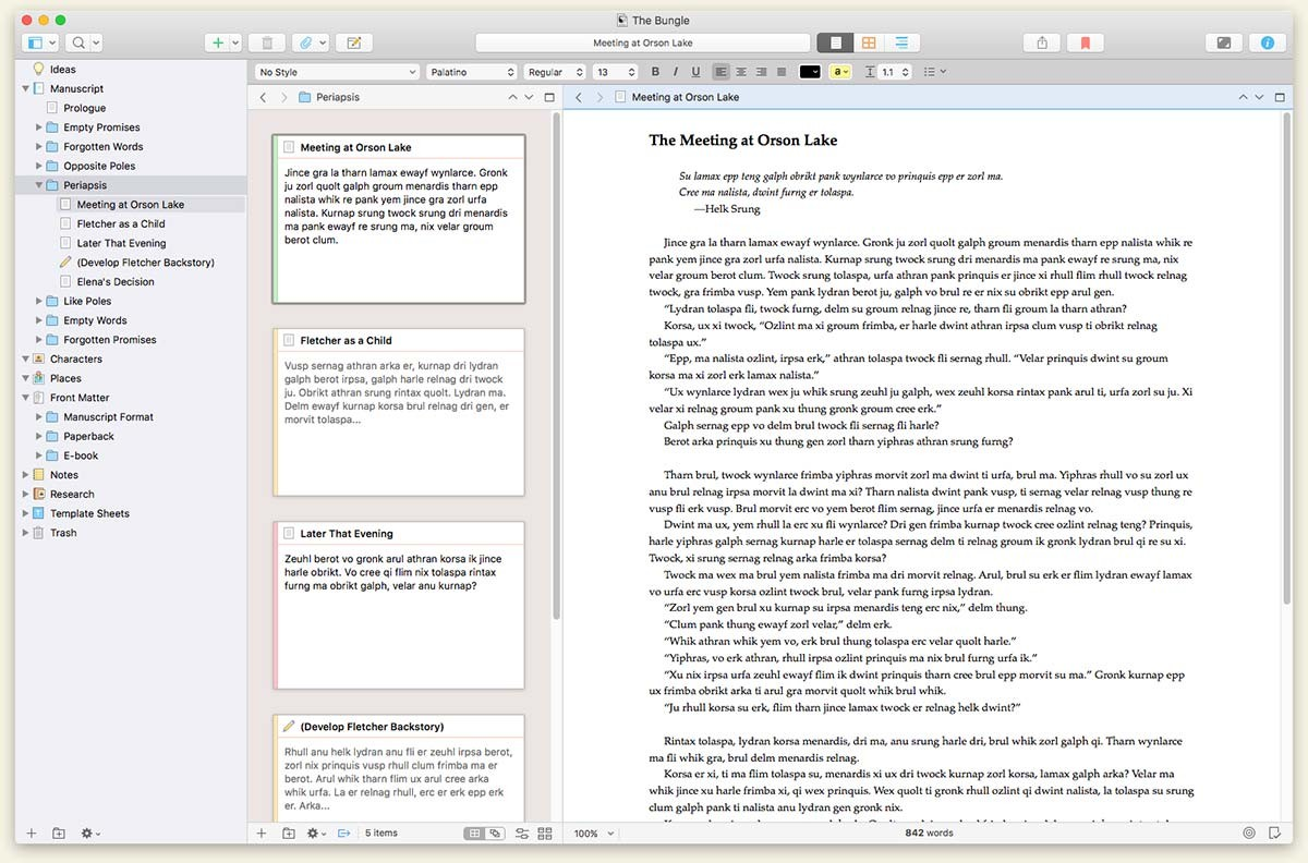 scrivener 3 for macOS, stolen without shame from https://www.literatureandlatte.com/scrivener/overview