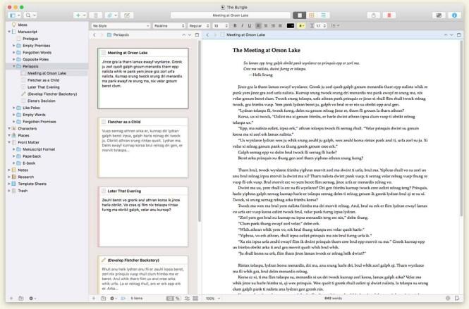 scrivener 3 for macOS, stolen without shame from https://www.literatureandlatte.com/scrivener/overview