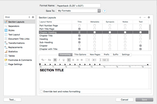 Formatting adjustments in the presets editor.