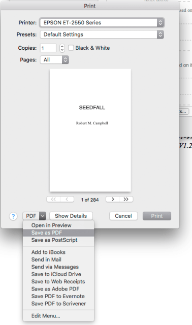 A Printer Dialog! Save as PDF unless you want a print job with hundreds of pages going to your printer.