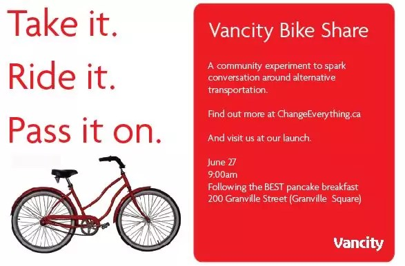 Vancity bike share launch: Wed. 27 June, 9 am in Granville Square