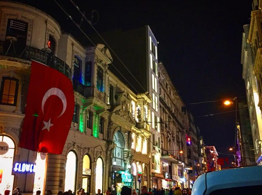 Bustling Istiklal Caddesi in Taksim District