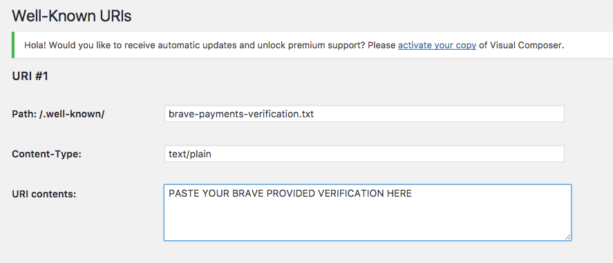 Example of fields you need for brave publisher verification on wordpress
