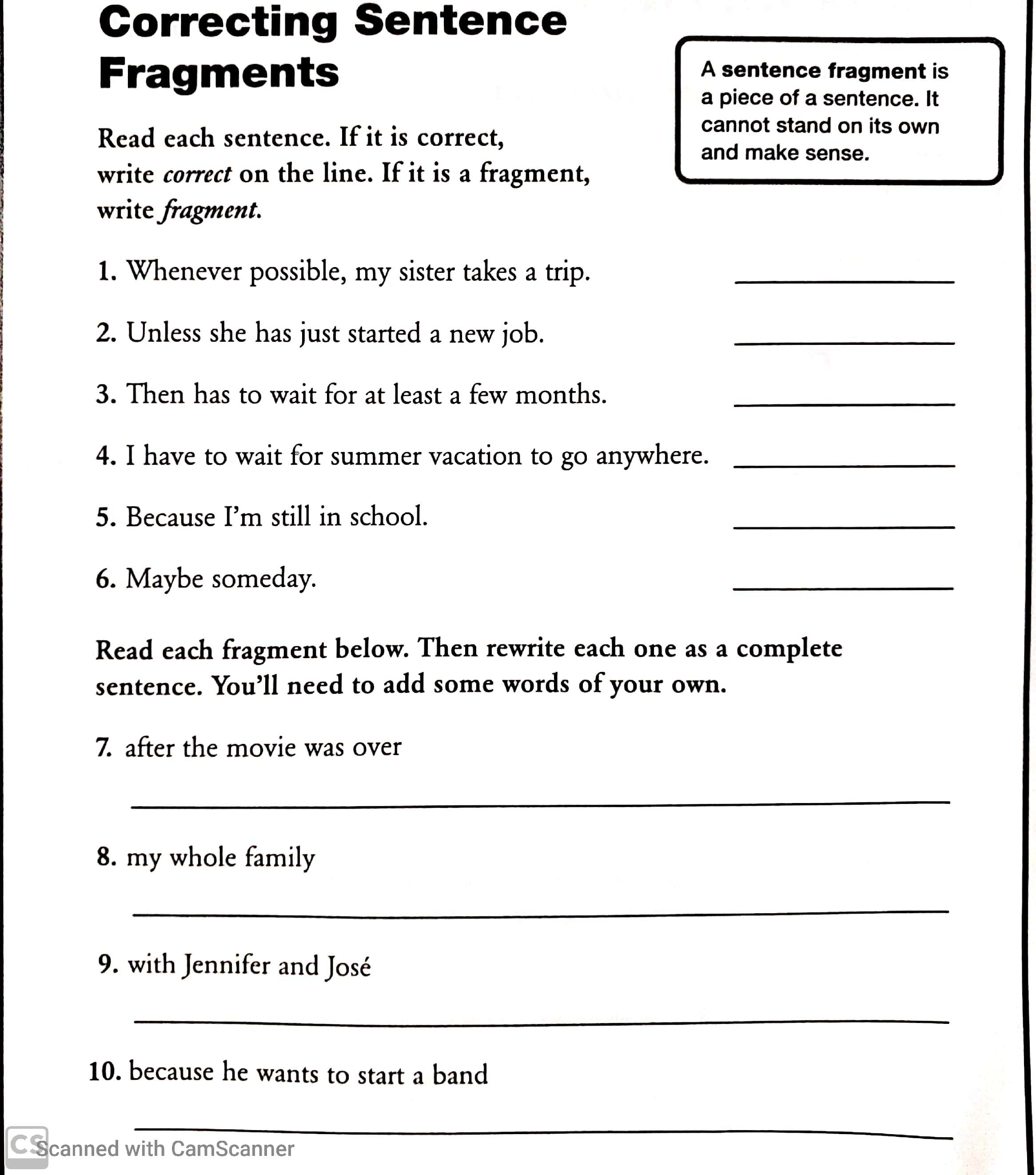 Word Study Lesson Correcting Sentence Fragments