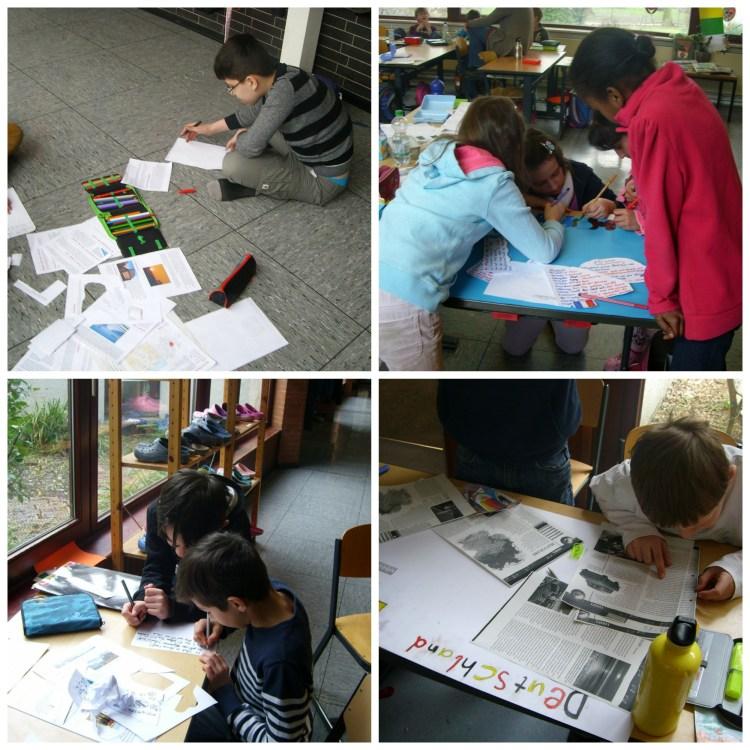 Die Kinder der vierten Klassen arbeiteten an Steckbriefen für jedes Land.