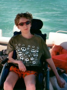 Noah on a boat in the Keys