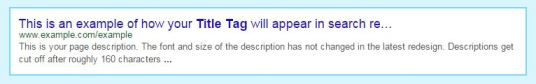 Meta Tag in search result sample