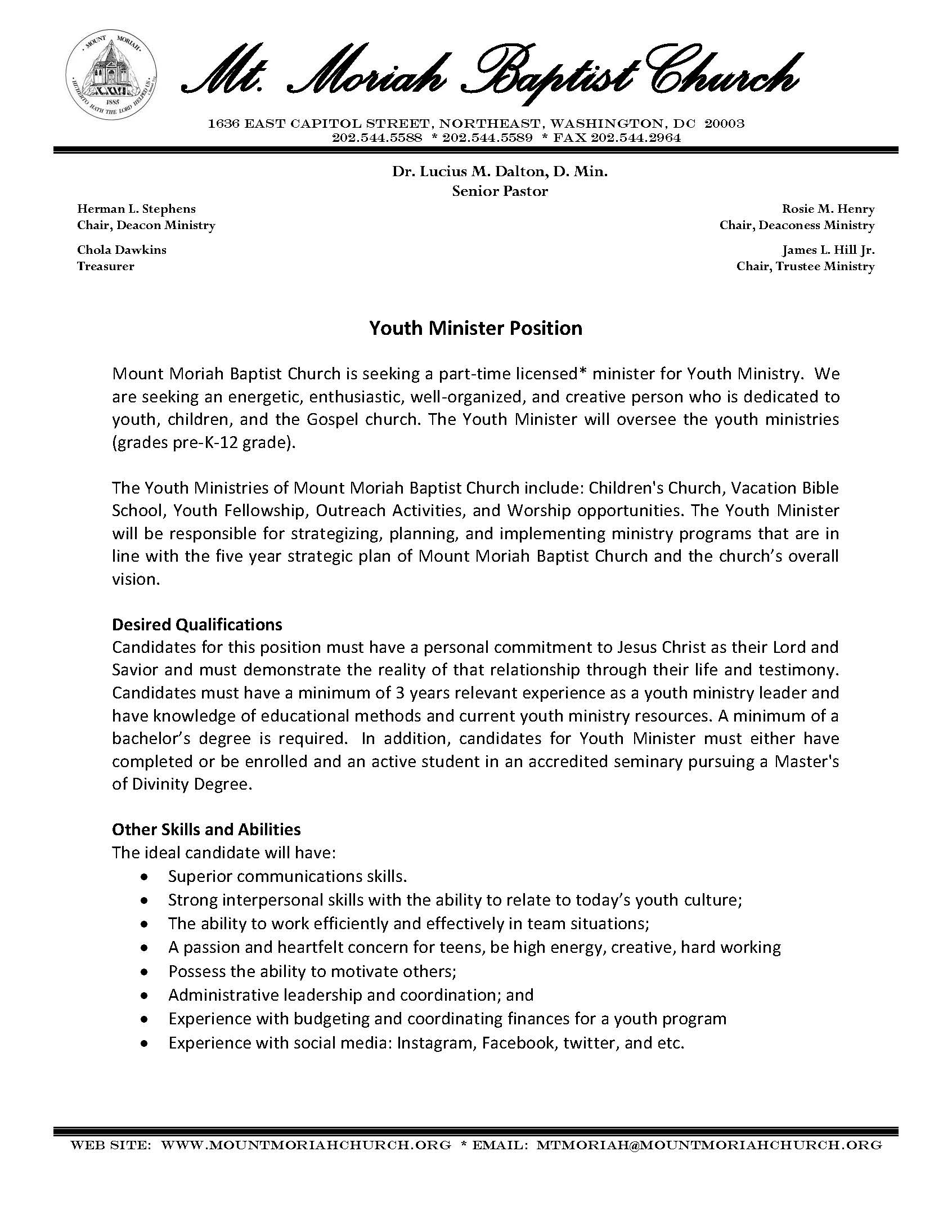 youth minister position mt moriah baptist washington dc