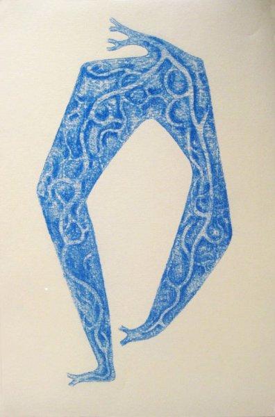 """Dance Enkantasyon, conté on printmaking paper, approx. 12"""" x 23"""", 2010-2011"""
