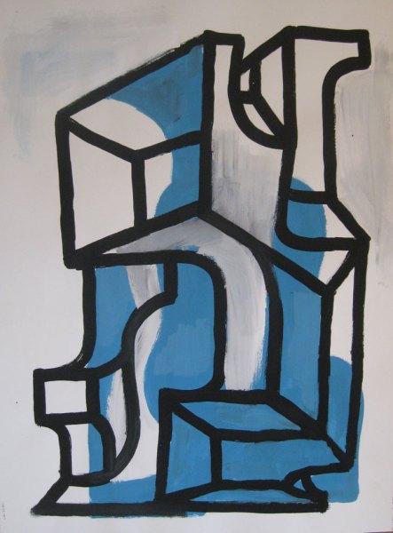 """Robert Egert, Forms#1, tempera on paper, approx. 27"""" x 32"""", 2011-2012"""