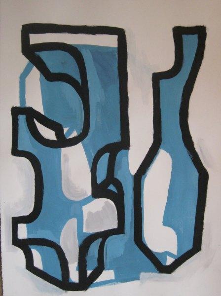 """Robert Egert, Forms #5, tempera on paper, approx. 27"""" x 32"""", 2011-2012"""