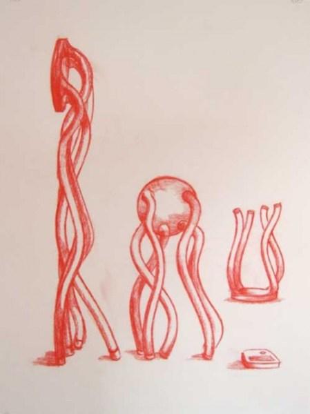 """Robert Egert, Untitled, conté on paper, 19"""" x 27"""", 2008"""