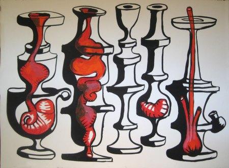 """Robert Egert, Vases No.1, 2012, 30"""" x 22"""" Tempera on printmaking paper"""