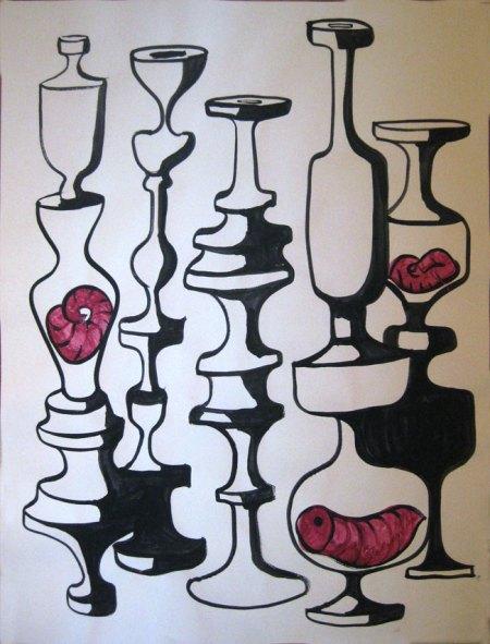 """Robert Egert, Conunct No.1, 2012, 22"""" x 30"""" Tempera on printmaking paper"""