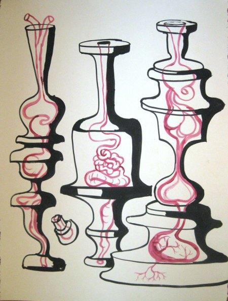 """Robert Egert, Conunct No.3, 2012, 22""""x30"""" Tempera on printmaking paper"""
