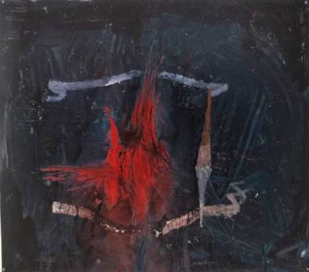 """Flaming Castel, oil on paper, approx. 32"""" x 38"""", circa 1985"""