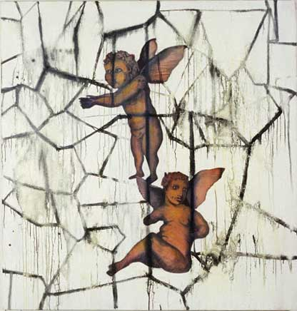 """Cracked Putti; oil on canvas, approx. 44"""" x 46"""" circa 1991"""