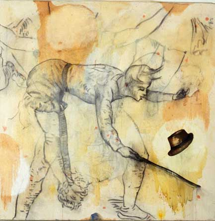 """Magic Hat Trick, Oil and bound charcoal on canvas, Approx. 50"""" x 48"""", circa 1990"""