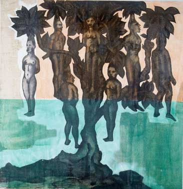 """People Tree, Oil and embedded charcoal on canvas, approx. 42"""" x 42"""" circa 1991 Robert Egert"""