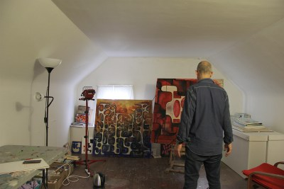 """Robert Egert photographed in his painting studio by Andre Smits as part of the """"Artist in the World"""" project"""
