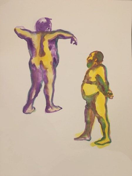 """Two nude male figures, gouache on watercolor paper, 18"""" x 24"""" painted in 2017 by Robert Egert"""
