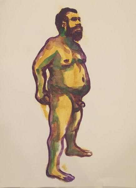 """Figure painting of a nude standing man, with his junk. Painted with gouache on watercolor paper, measuring 18"""" x 24"""", painted at Jersey City Art School Wednesday evening figure class organized by Joe Velez in July 2017 by Robert Egert"""
