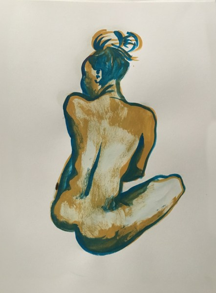 """Nude figure Painting of Woman with Turban, gouache on watercolor paper, 18"""" x 24"""" painted at Jersey City Art School, Jersey City NJ near Hamilton Park in July 2017 by Robert Egert"""