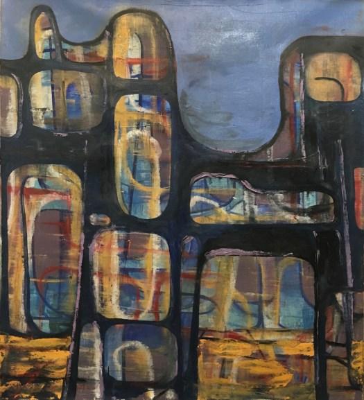 Cityscape painting by Robert Egert 2017 Work in Progress