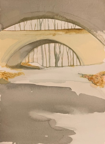 Painting of the Palisades Parkway Underpass near exit 2 by Robert Egert watercolor on paper 26cm x 36cm, 2019