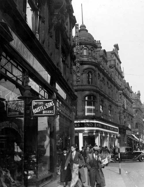 Vicar Lane, Leeds, 1937, showing the sign for Emma Sillers's pram shop (via Leodis).