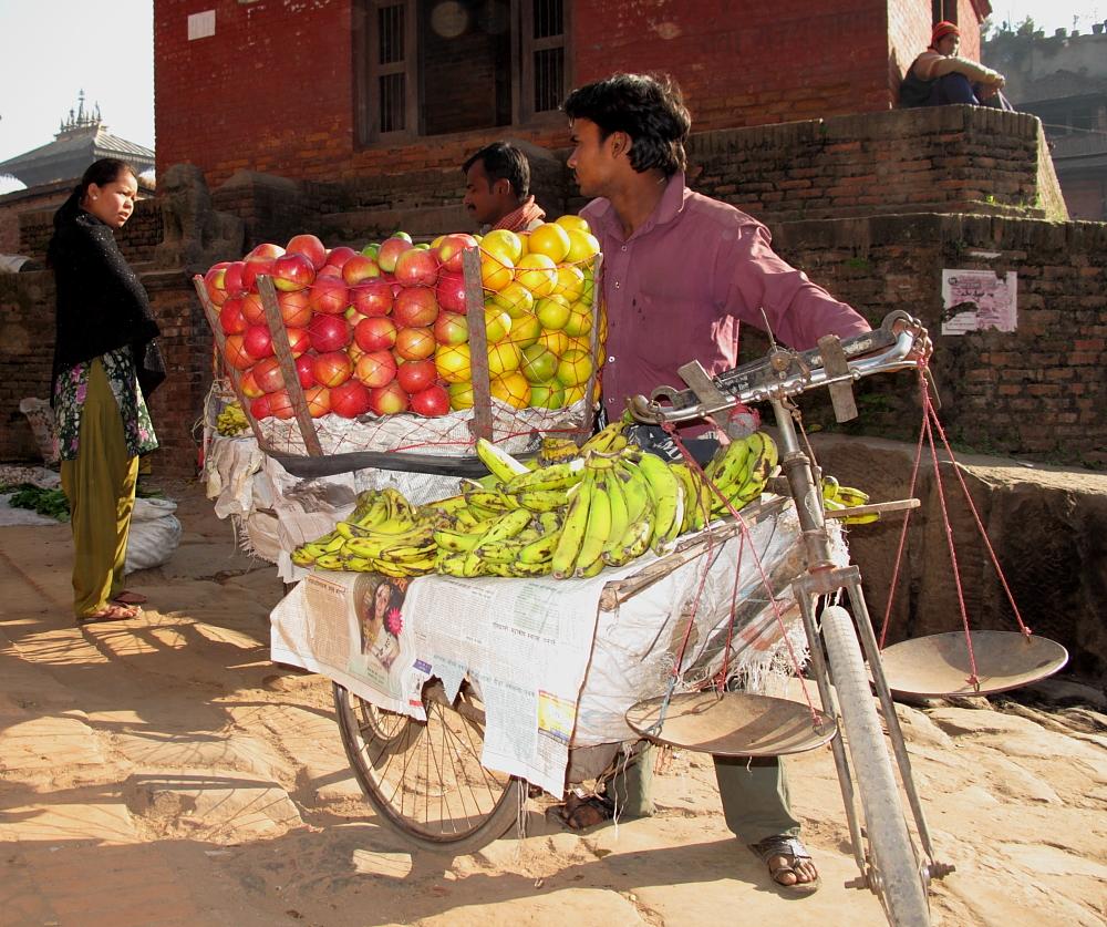 bike and fruit
