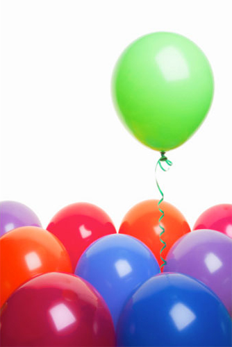 colourful balloons, floating green balloon