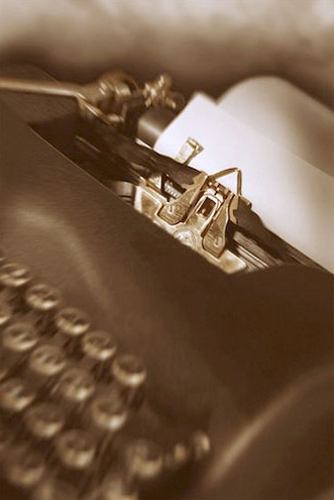 antique typewriter, blank page