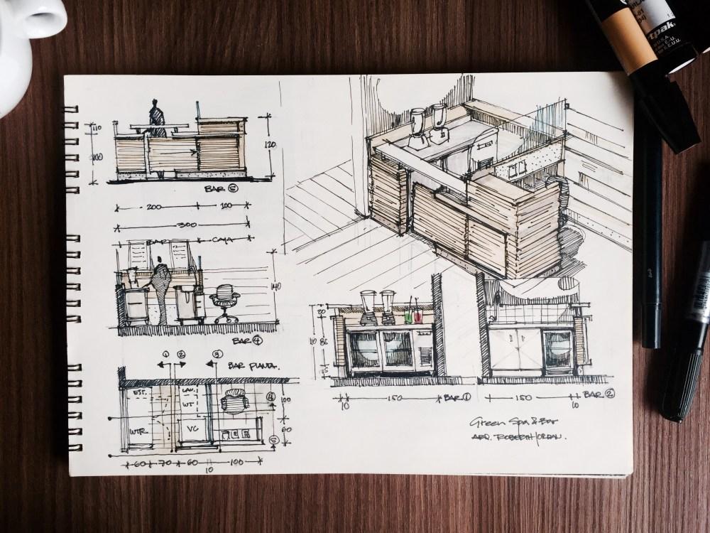 Green Spa and Bar Sketches