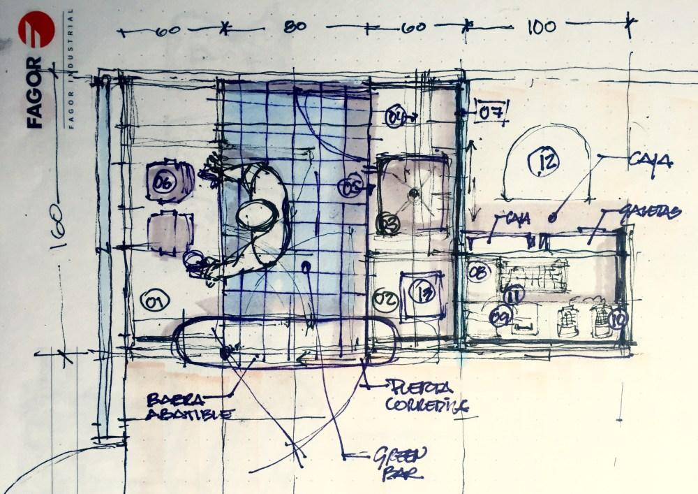Green Spa and Bar Sketches for furniture design