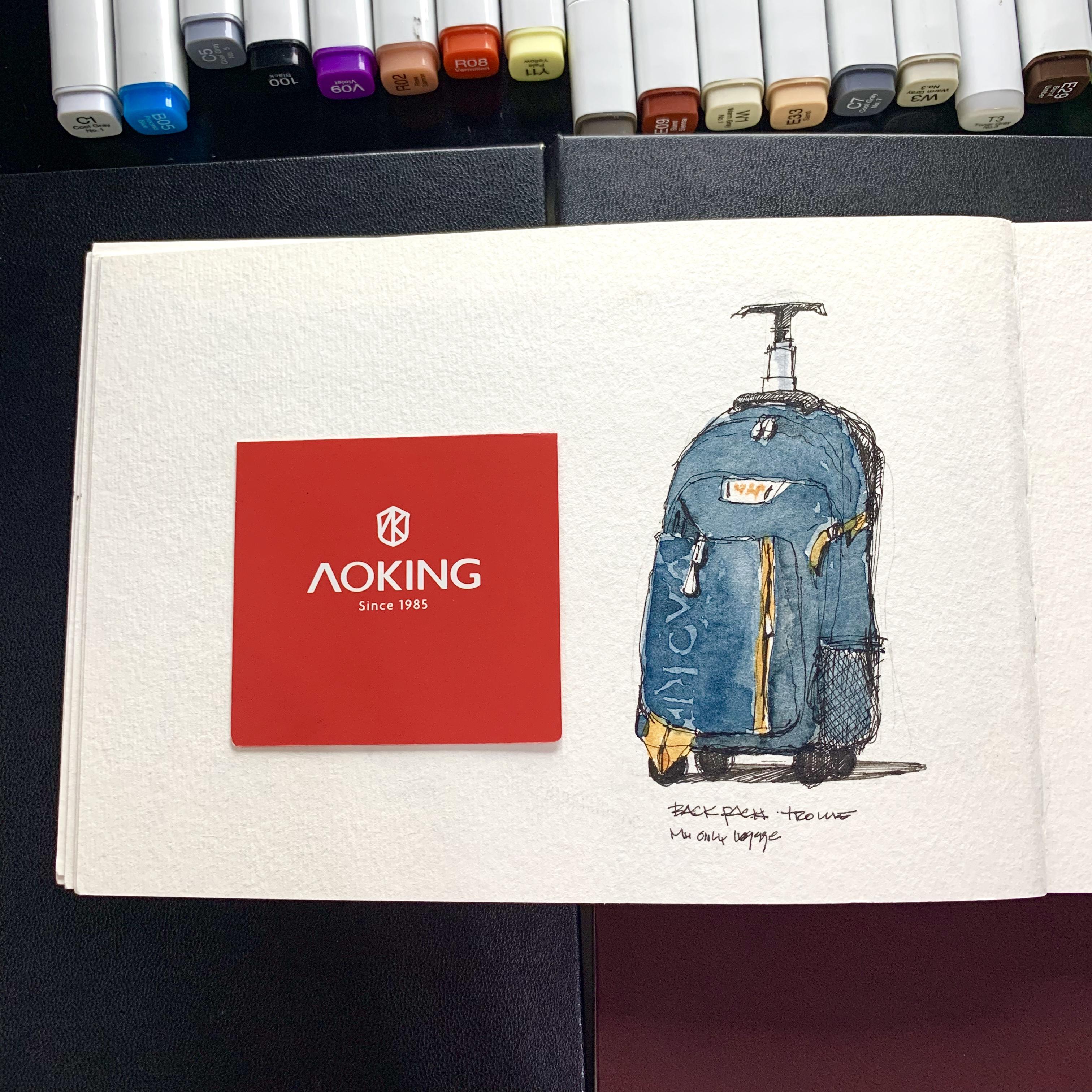 Sketchbook over desk with back pack  sketches